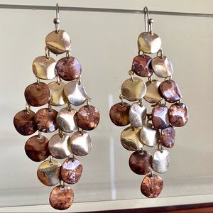 MARBLED Brown Gold Round Disc Shimmer Earrings